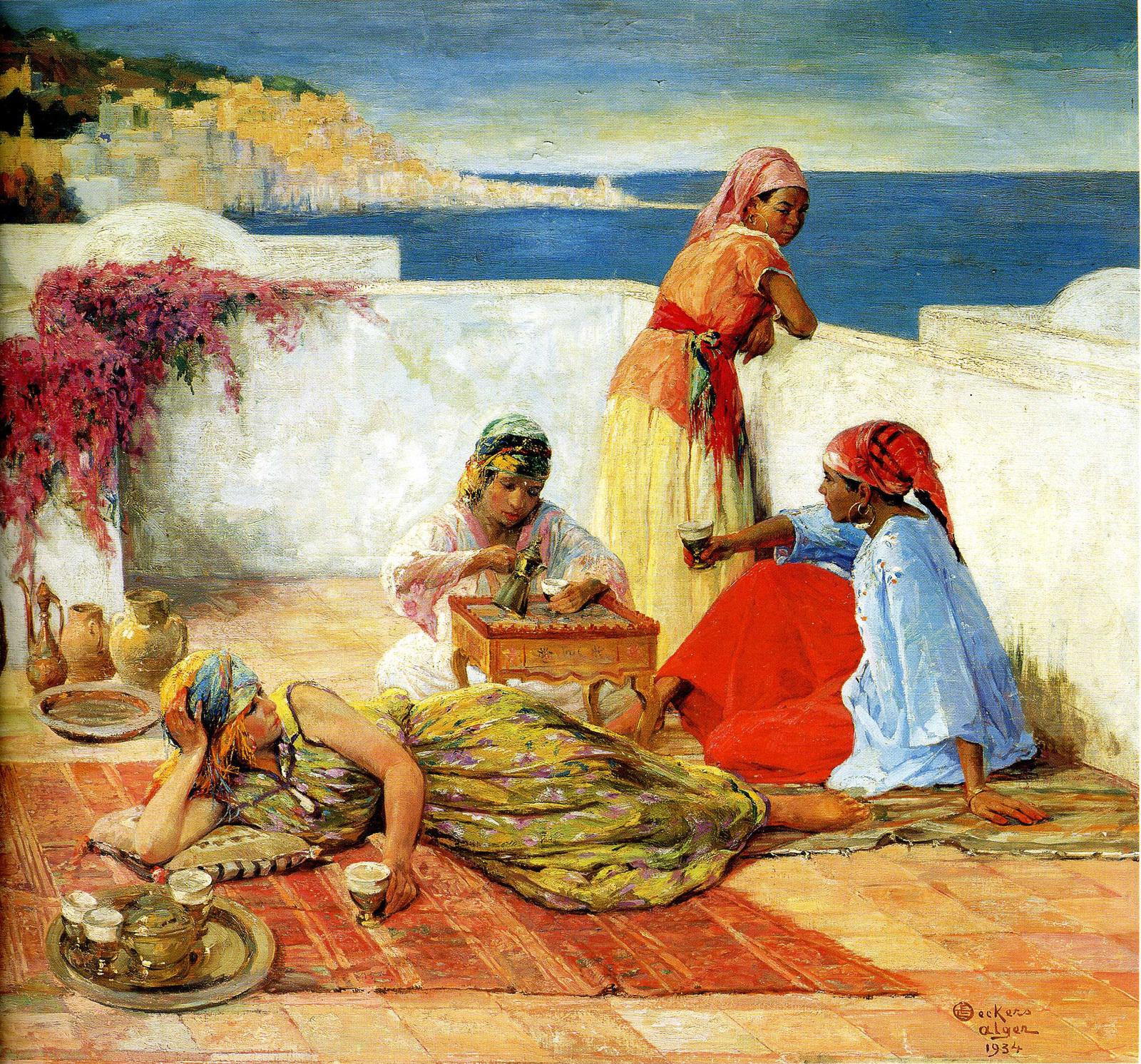 """Tedeschi Marguerite """"Femmes de Aît Hachem"""", Kabylie 1913, Huile sur toile 80 x 100 cms"""